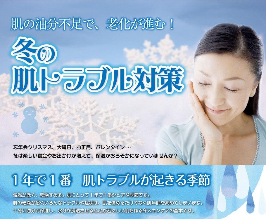 冬の肌トラブル対策 - 肌の油分不足で、老化が進む!
