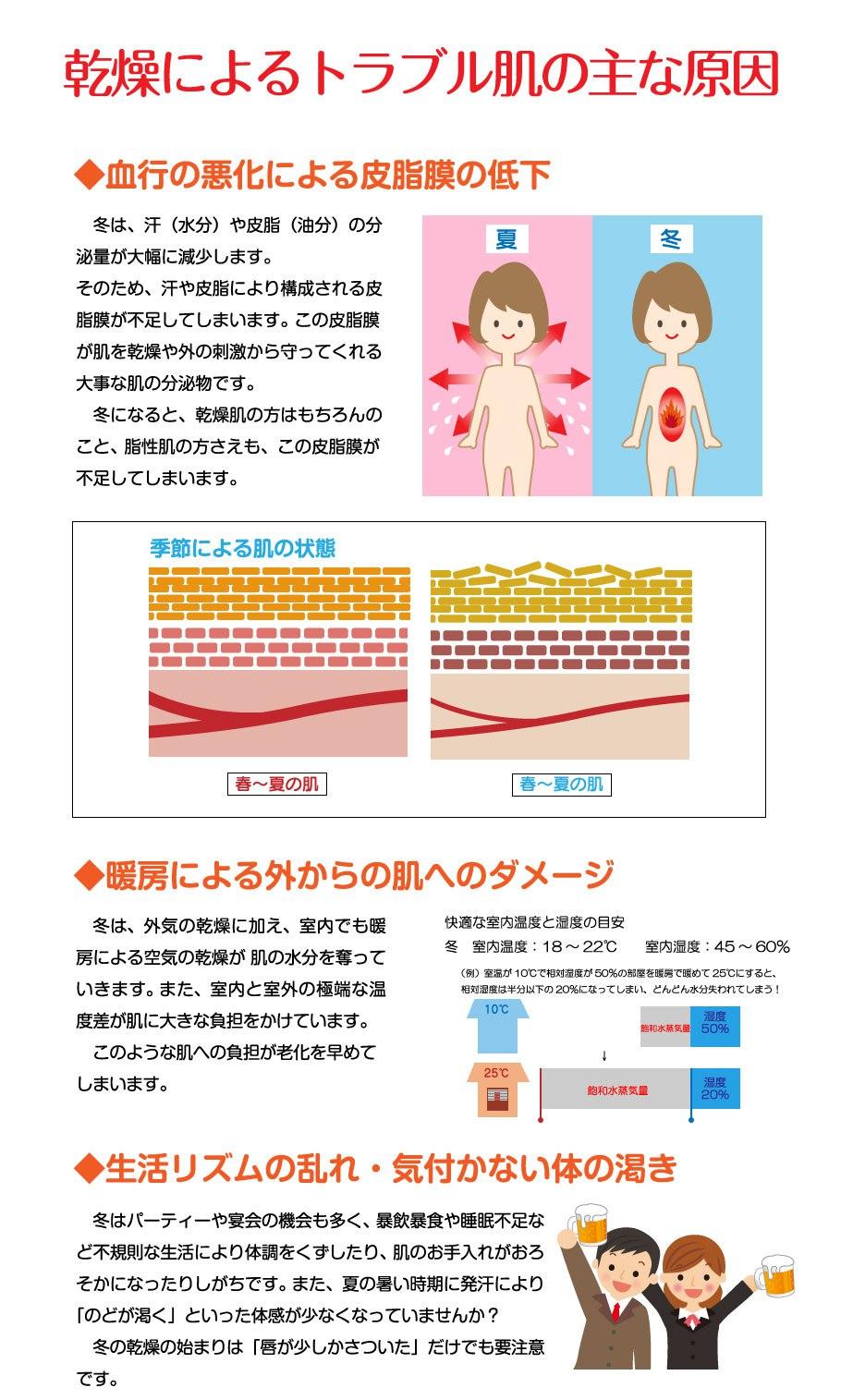 乾燥によるトラブル肌の主な原因